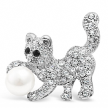 Cute Pussy Cat Playing Ball Brooch